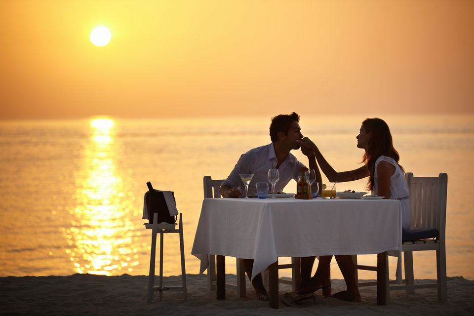 Couple having a romantic dinner.