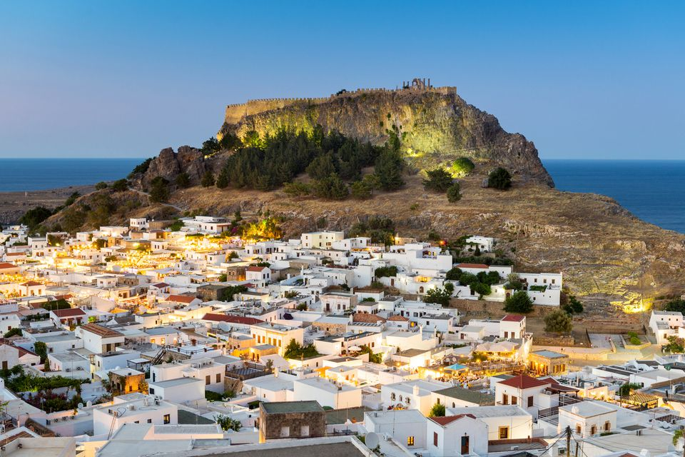 Lindos at dusk, Rhodes, Greece