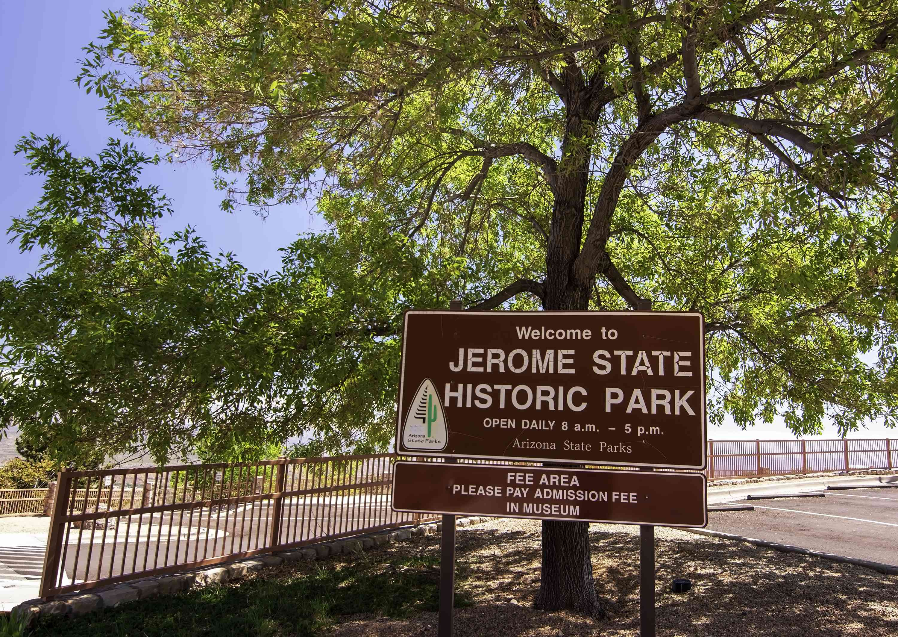 The sign to the entrance of the Jerome Historic State Park on a sunny spring day