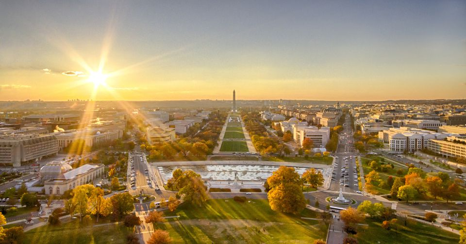 Autumn sunset over National Mall as seen from top of US Capitol, Washington DC