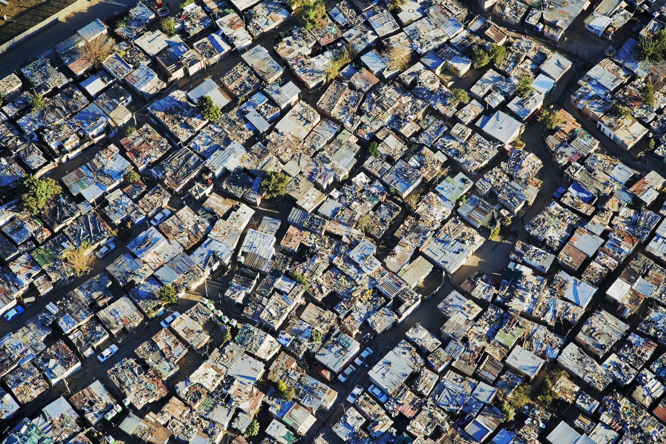 South Africa, Gauteng Province, Johannesburg, aerial view of Alexandra Township