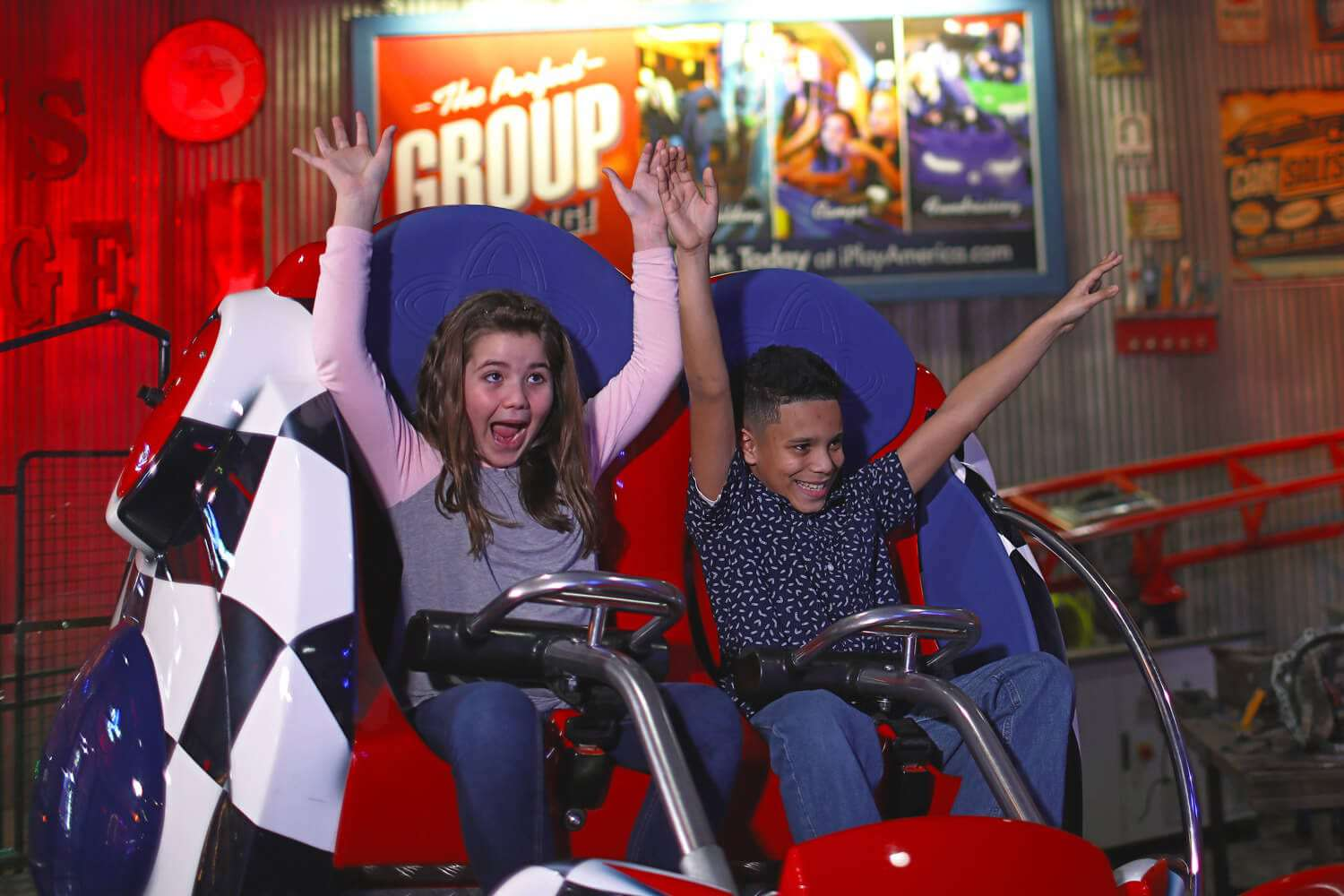 Roller coaster at iPlay America in New Jersey