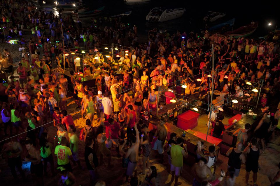 People at Full Moon Party in Thailand