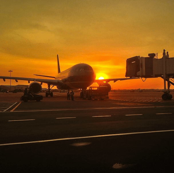 Sunset in Saigon at airport