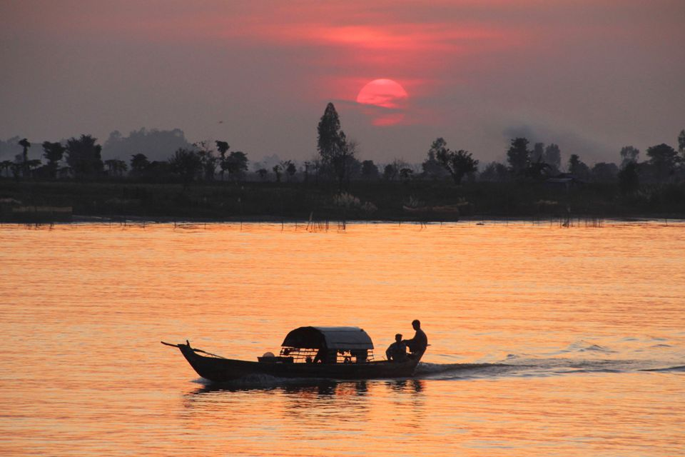 Beautiful sunset on the Mekong River in Vietnam