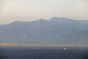 View of Mt. Etna and the Island of Sicily from the Strait of Messina