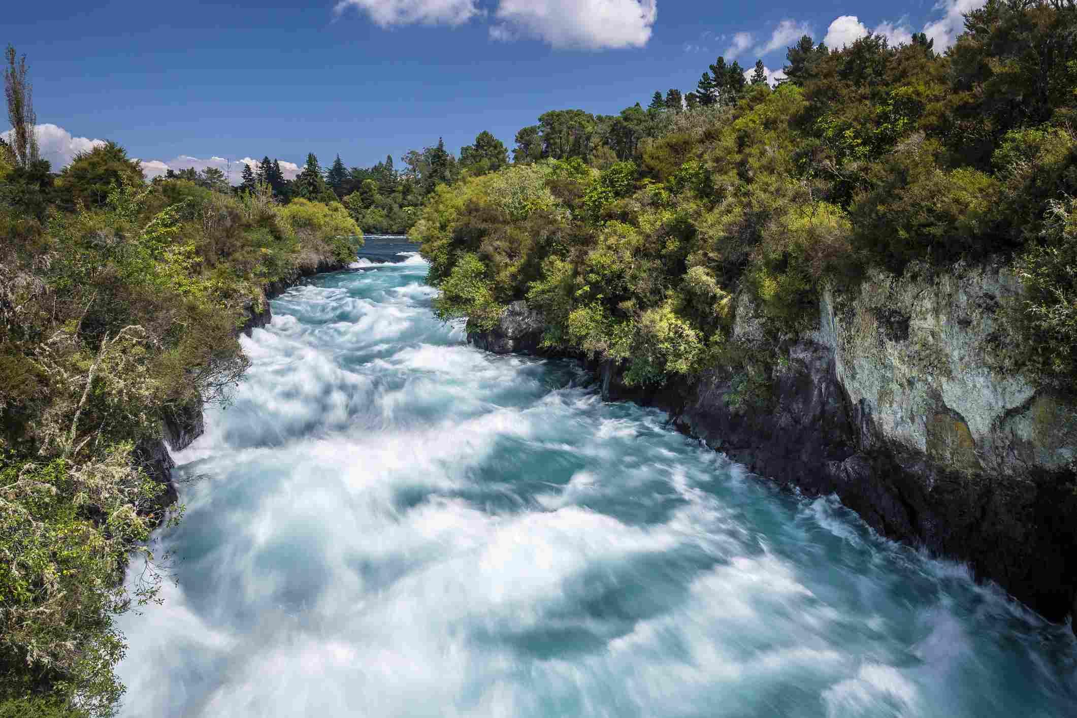 Huka Falls en el río Waikato, Isla Norte, Nueva Zelanda