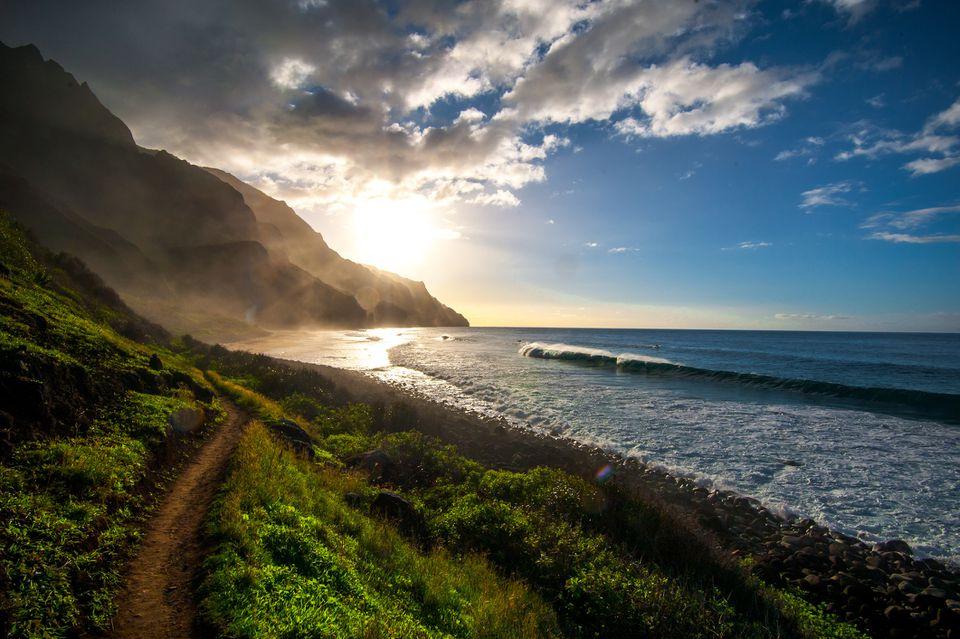 Kalalau Beach at sunset along Kauai's Na Pali Coast.