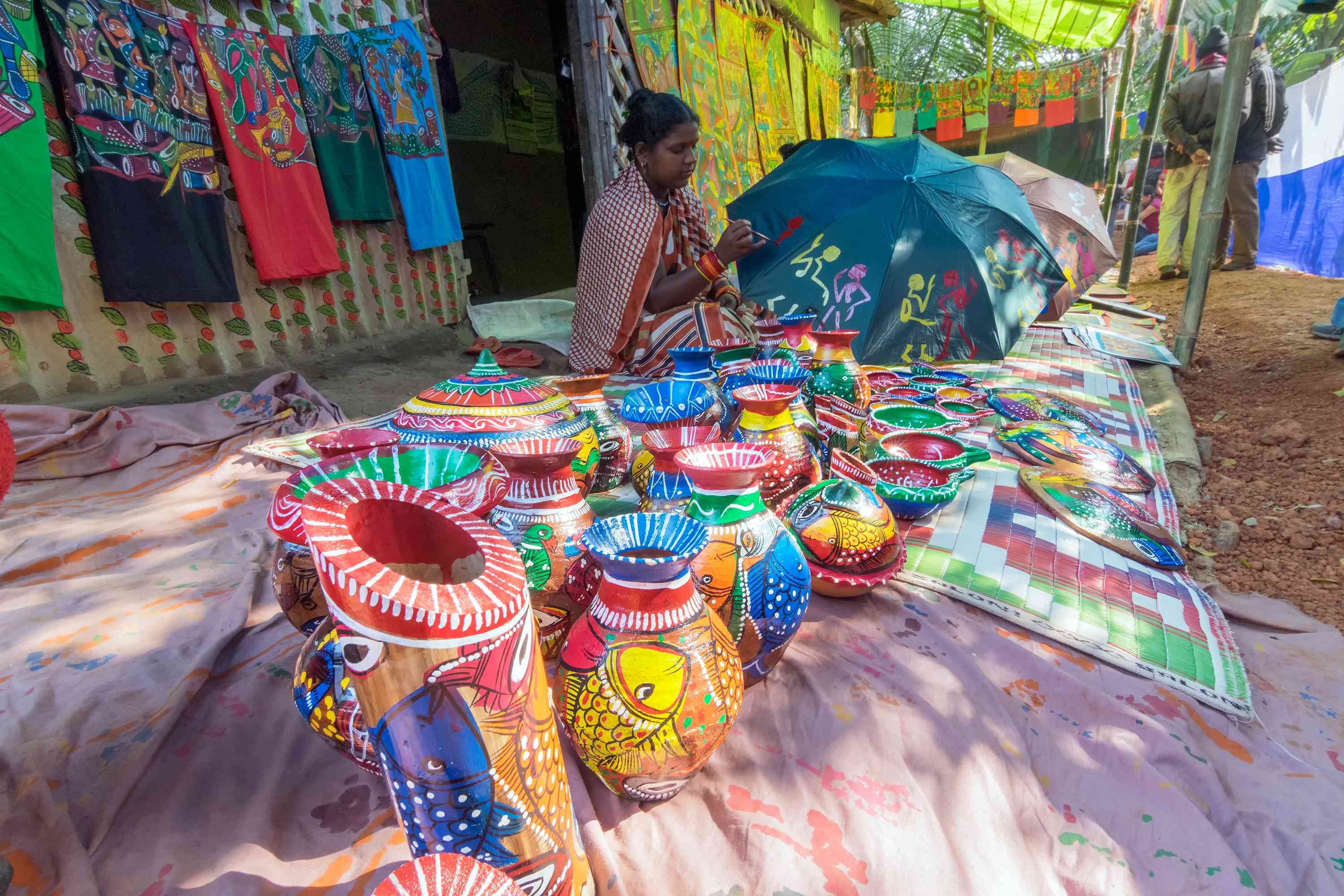 Handicrafts are being prepared for sale Pingla, West Bengal.