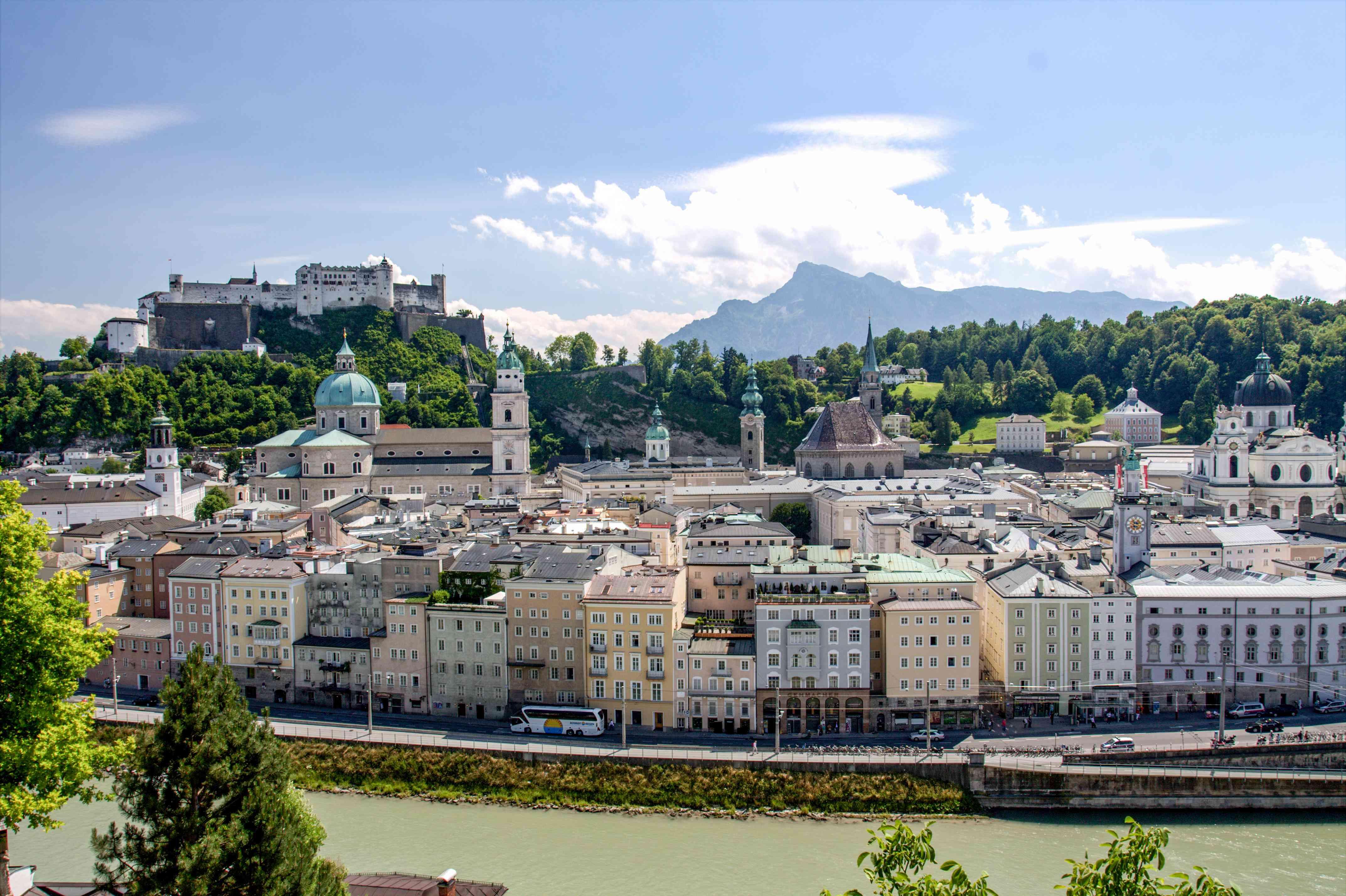 Vista del río y Salzburgo