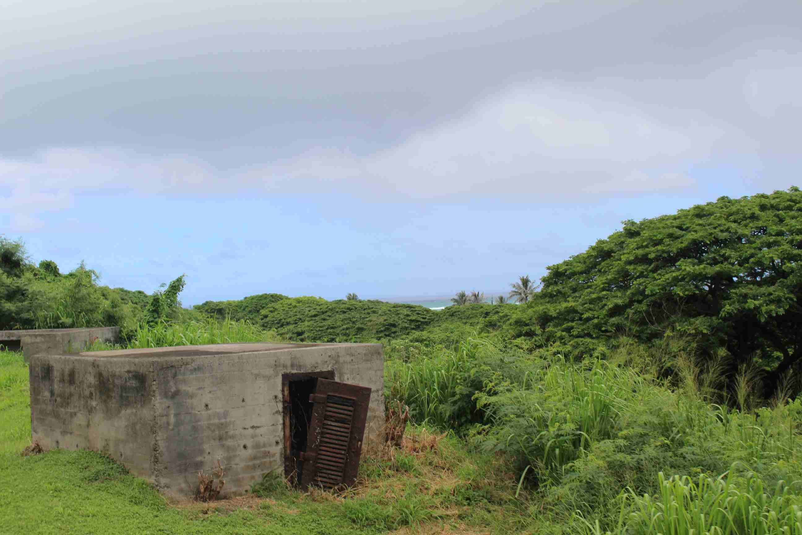 Abandoned World War II bunkers at Kualoa Ranch in Hawaii.