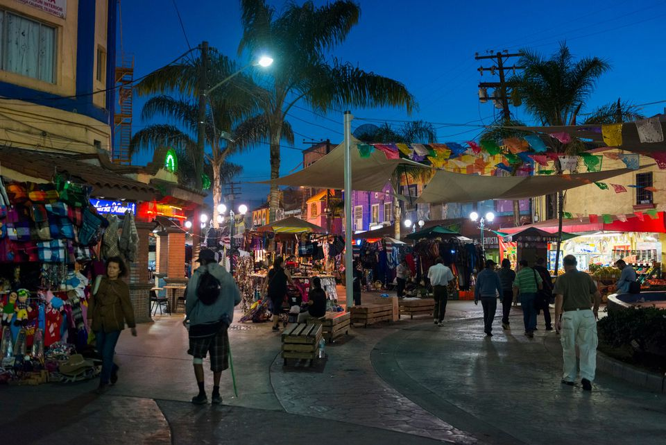 Tijuana, Mexico tourist area at night