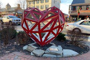 Heart-shaped art in Haddonfield, NJ