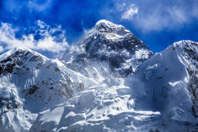 Looking up towards the peak of Mount Everest on a clear day