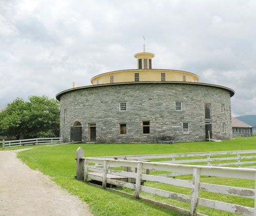 Round barn, which enabled livestock to move even in inclement weather.