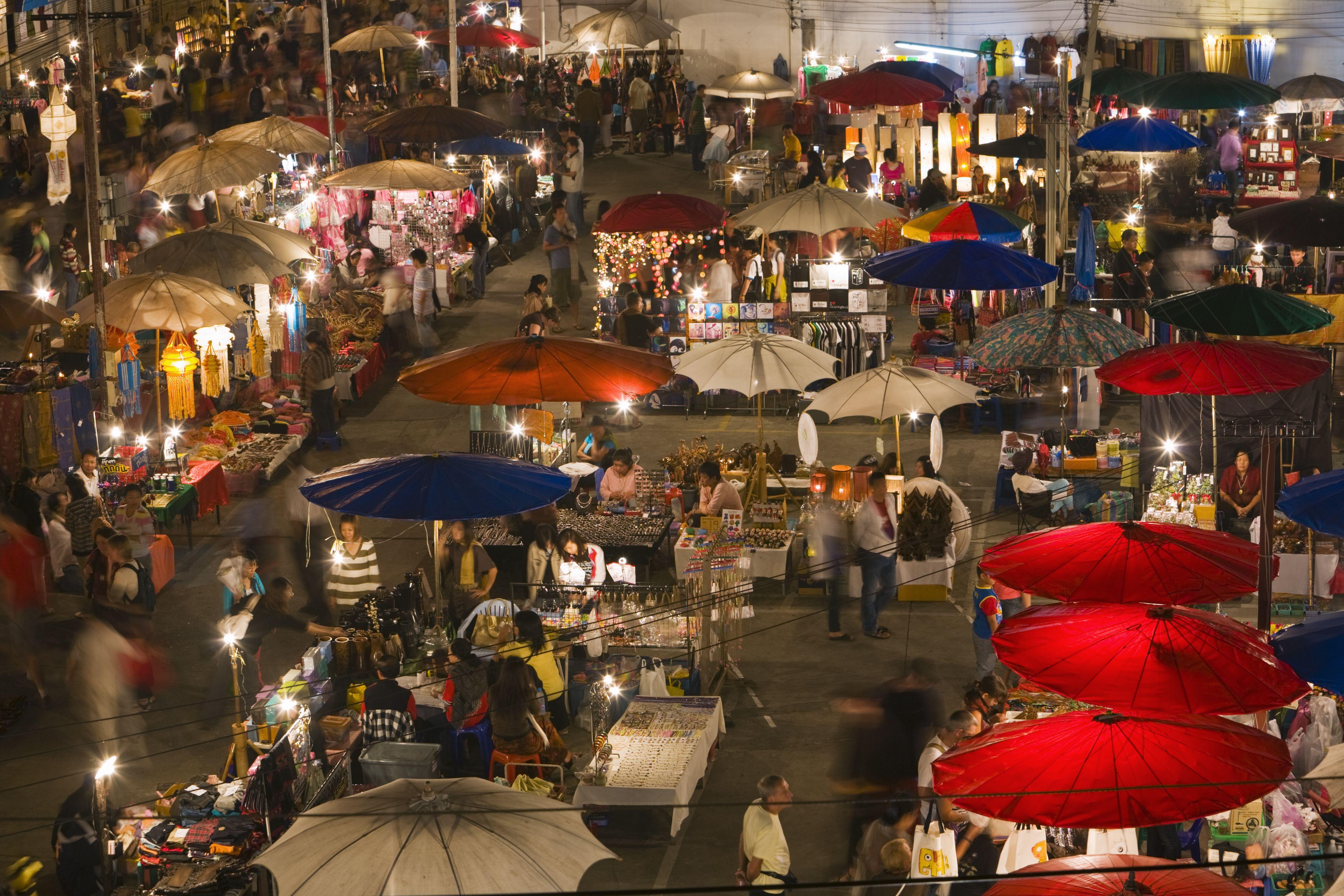 Sunday walking street night market in Chiang Mai