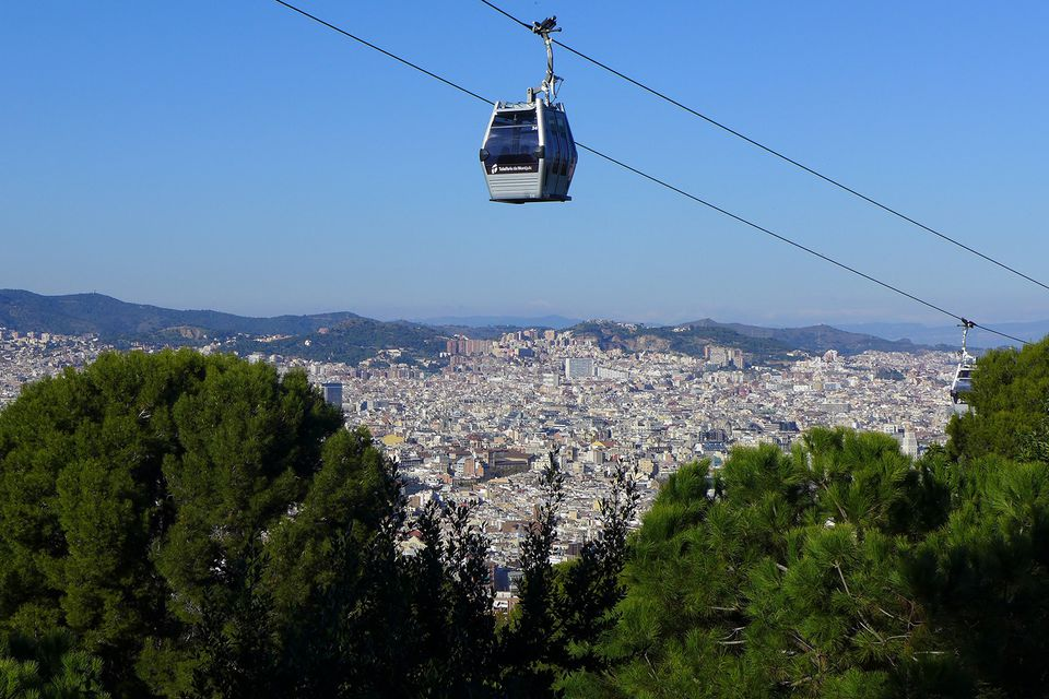 A cable car running up Montjuïc hill in Barcelona