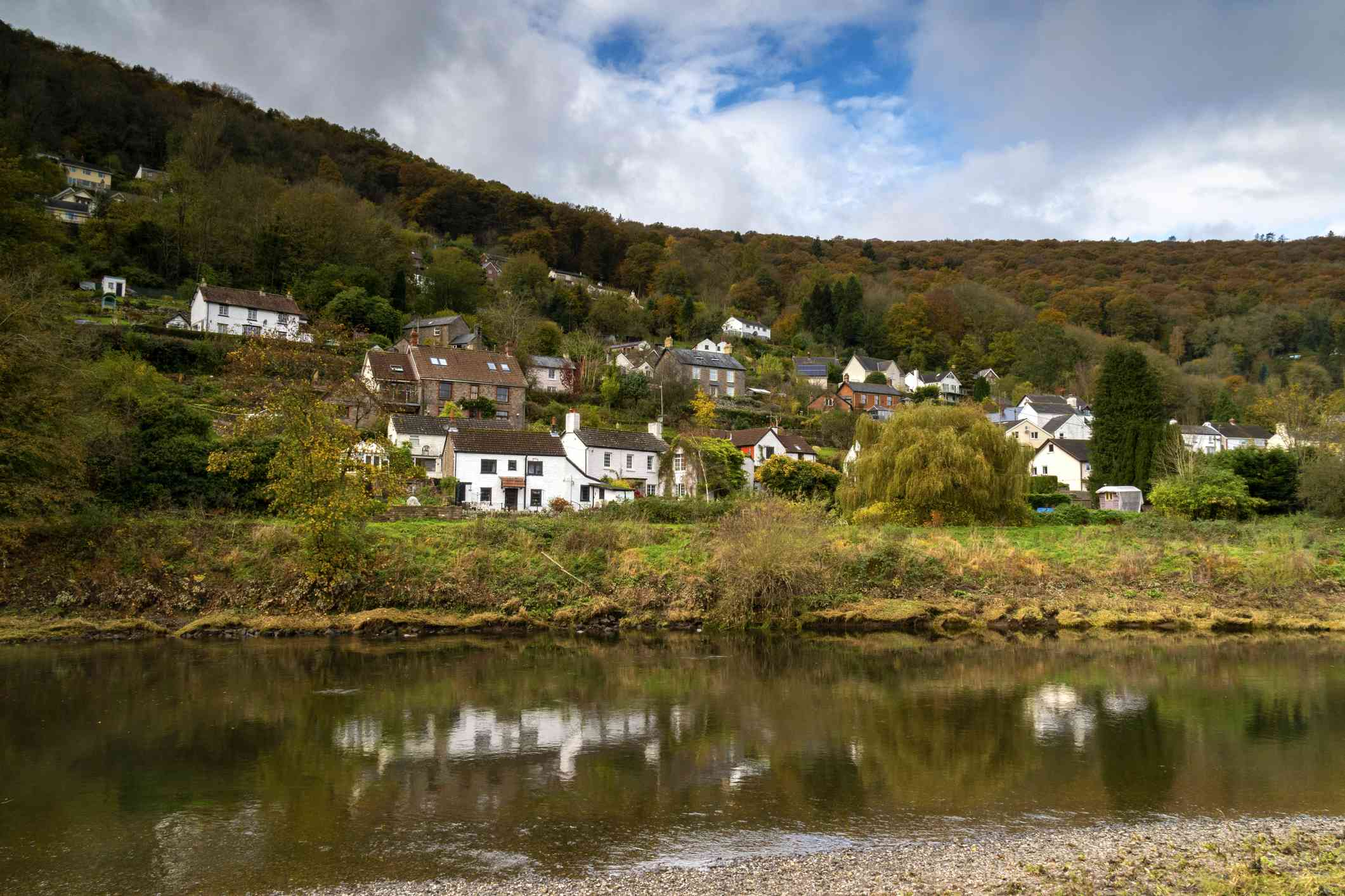 The riverside village of Llandogo in Rye Valley, Wales