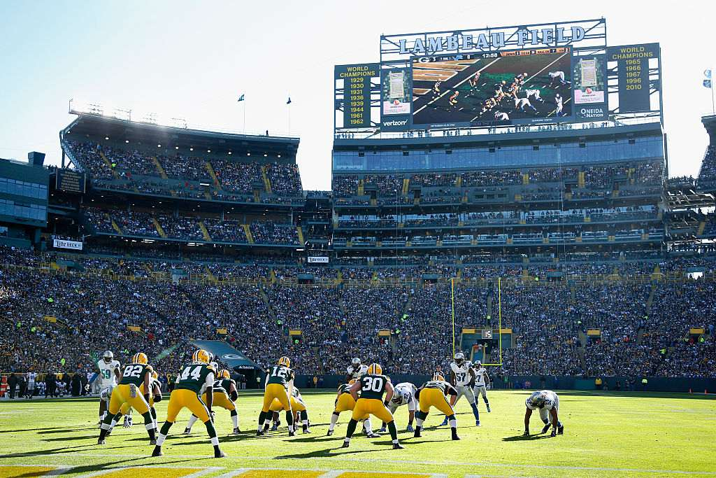 General view of the stadium scoreboard as the Green Bay Packers line up against the Detroit Lions