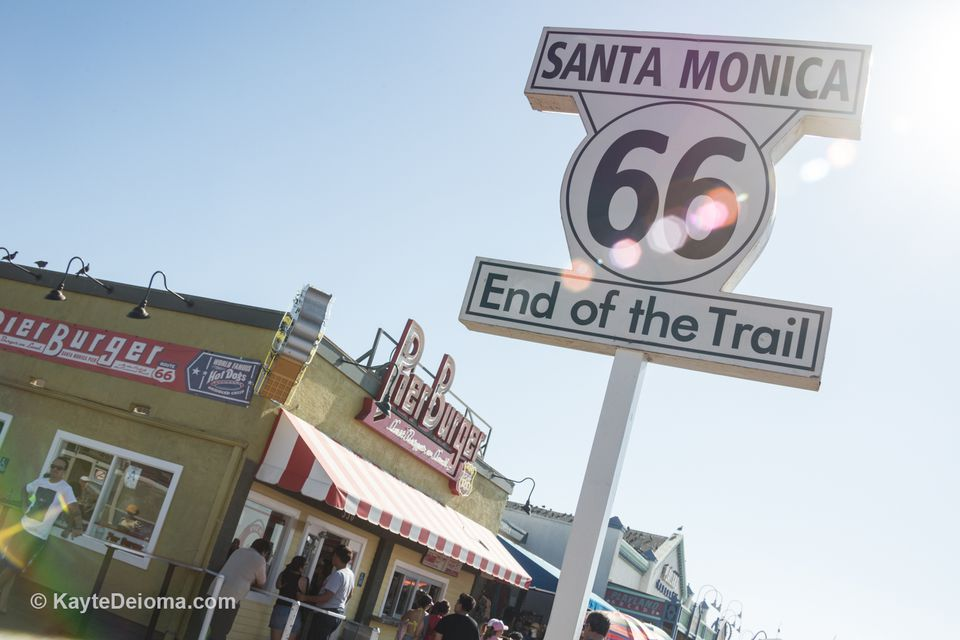 Route 66 End of the Trail sign in Santa Monica, CA
