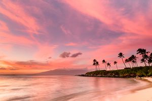 Pink sunset in Hawaii