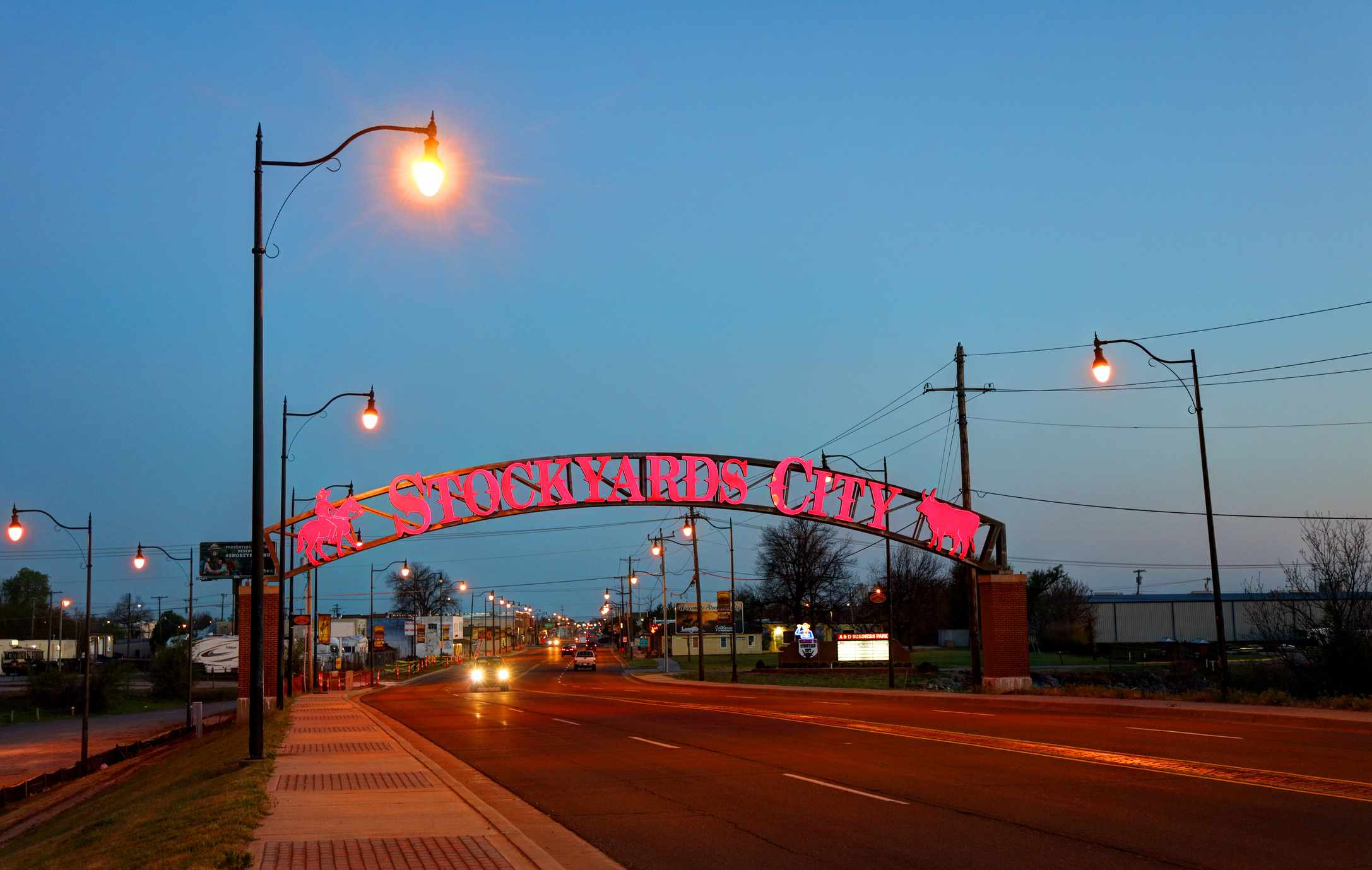 Evening view of the Stockyards City entrance sign in the heart of Oklahoma City's colorful history