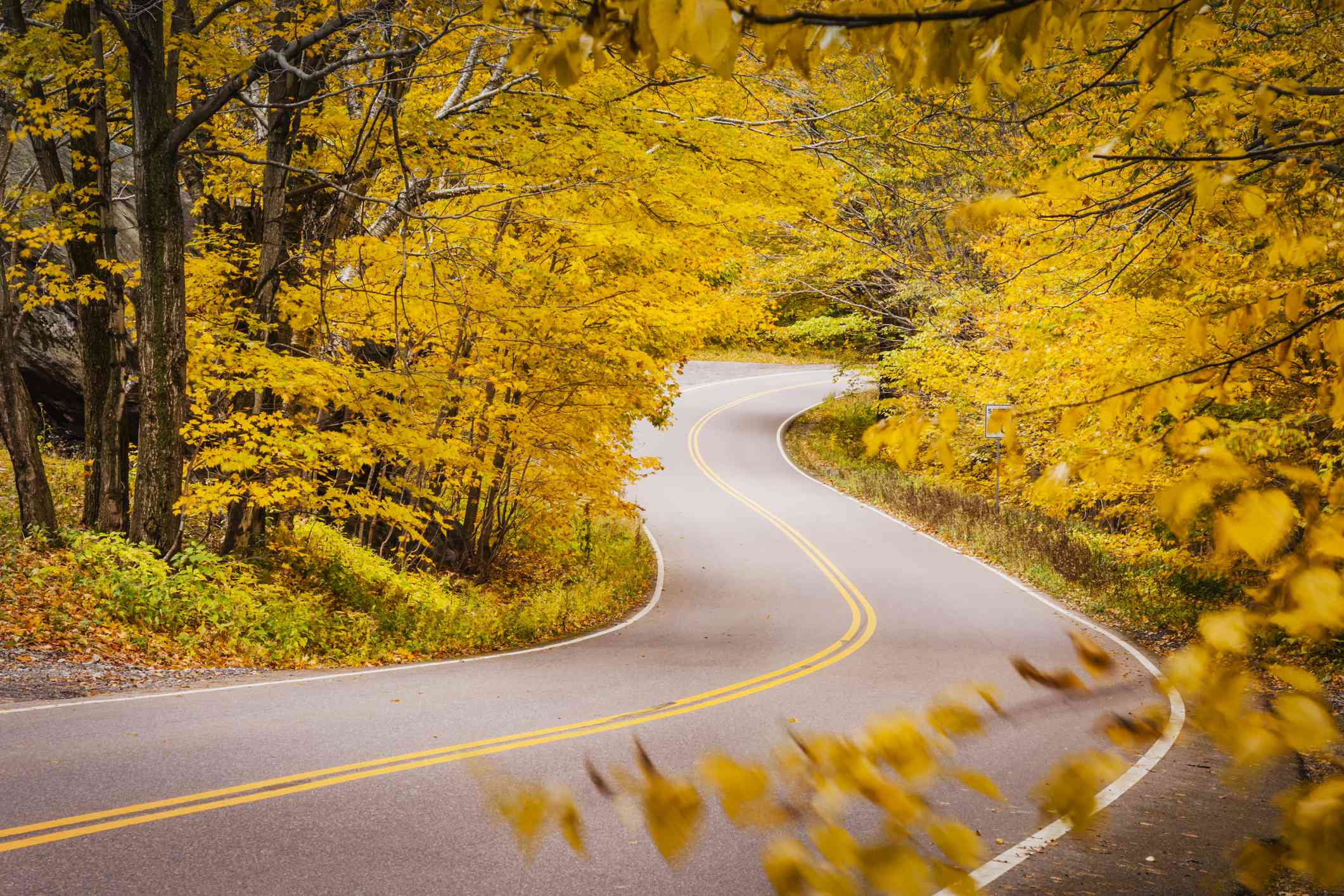 Curvy road in autumn near Smugglers Notch, Stowe, Vermont, USA