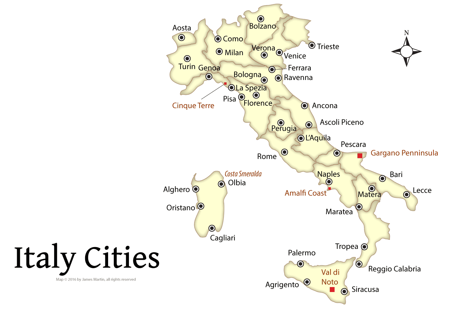 Map Of Italy With Towns.Planning Your Italian Vacation Best Cities In Italy