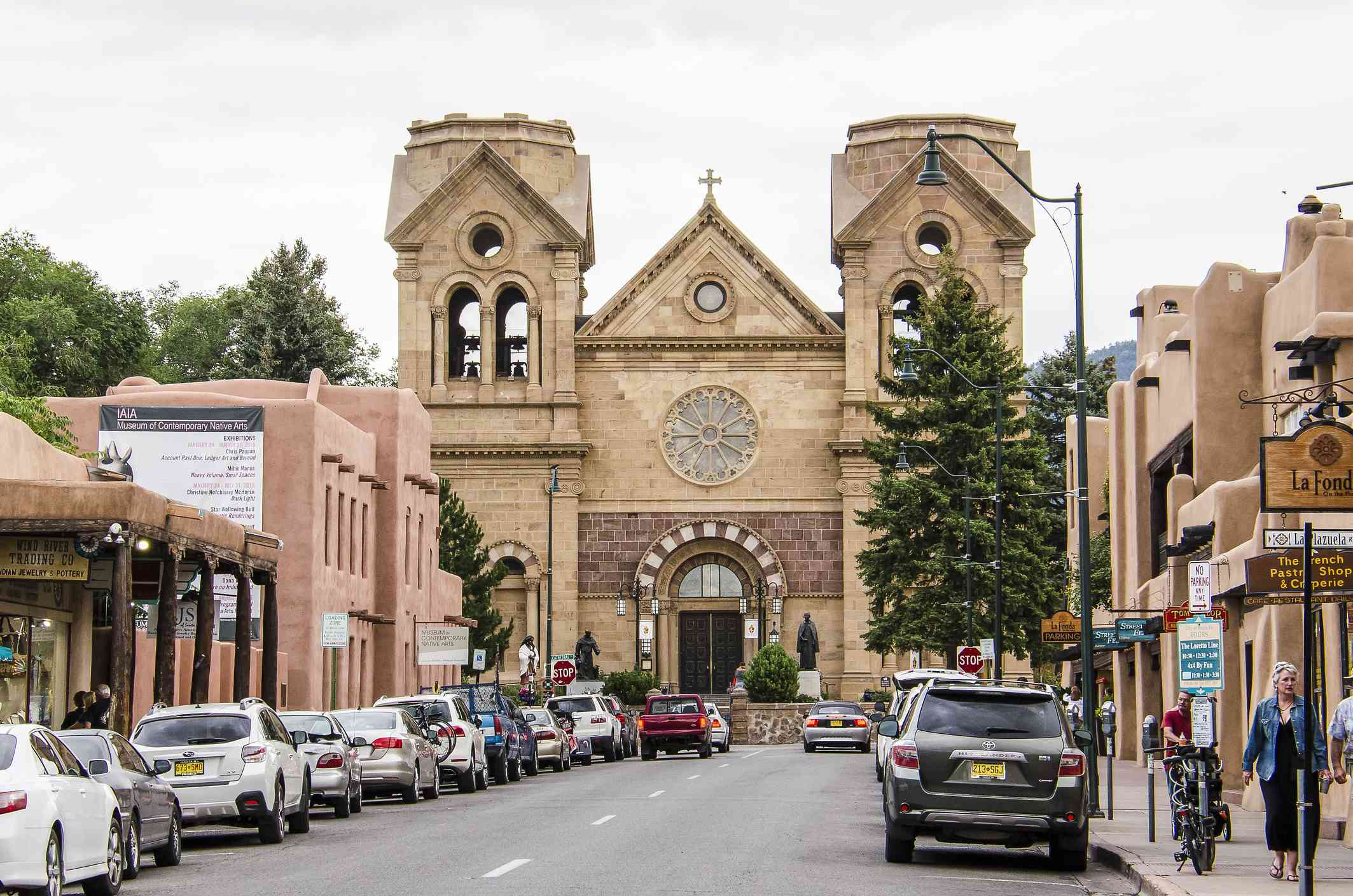 Downtown street with Cathedral Basilica of St. Francis of Assisi
