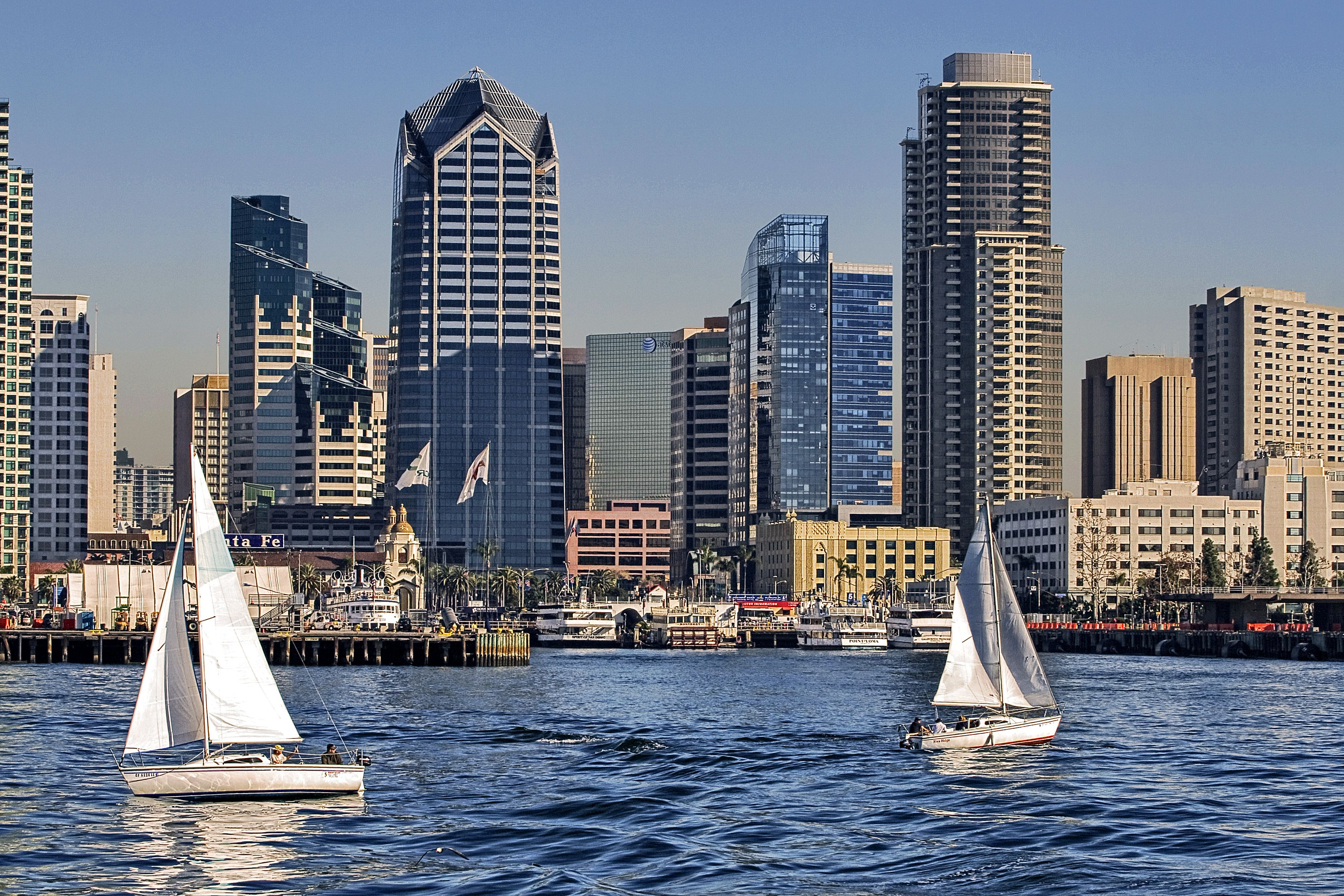 Sailing by downtown San Diego