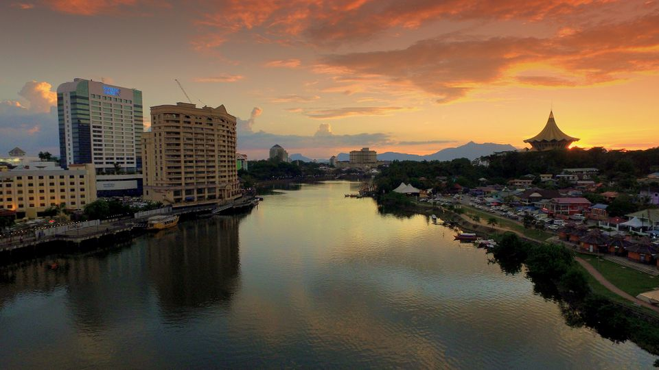 Borneo city at sunset