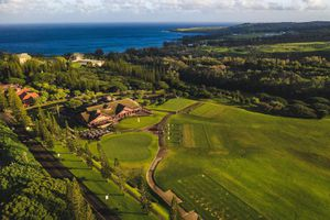 Aerial view of The Plantation Course at Kapalua Bay