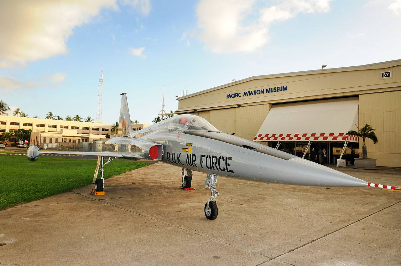 One of the many jets on display at the Pacific Aviation Museum.