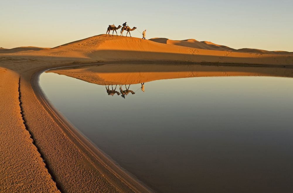 The reflection of camel trekkers and sand dunes on a desert lake.