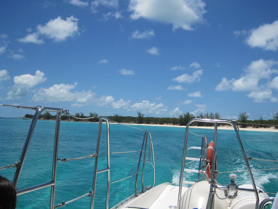 Sailing towards Rose Island in the Bahamas on the Sweetie Pie Catamaran