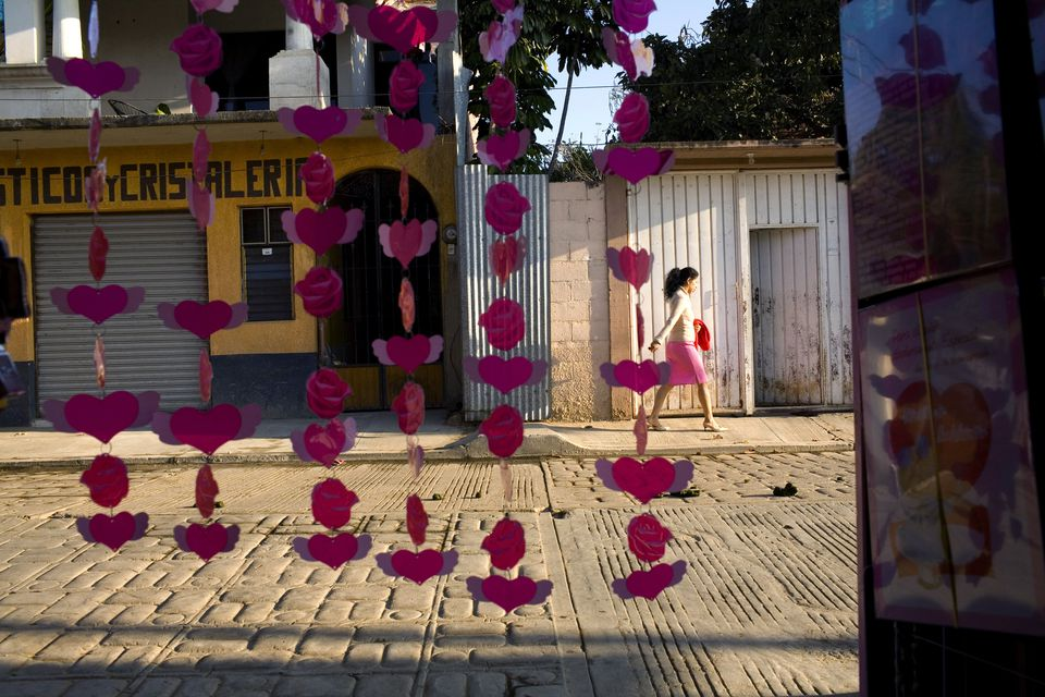 Doorway of a gift shop in the town of San Pablo Huixtepec, Mexico with heart garland