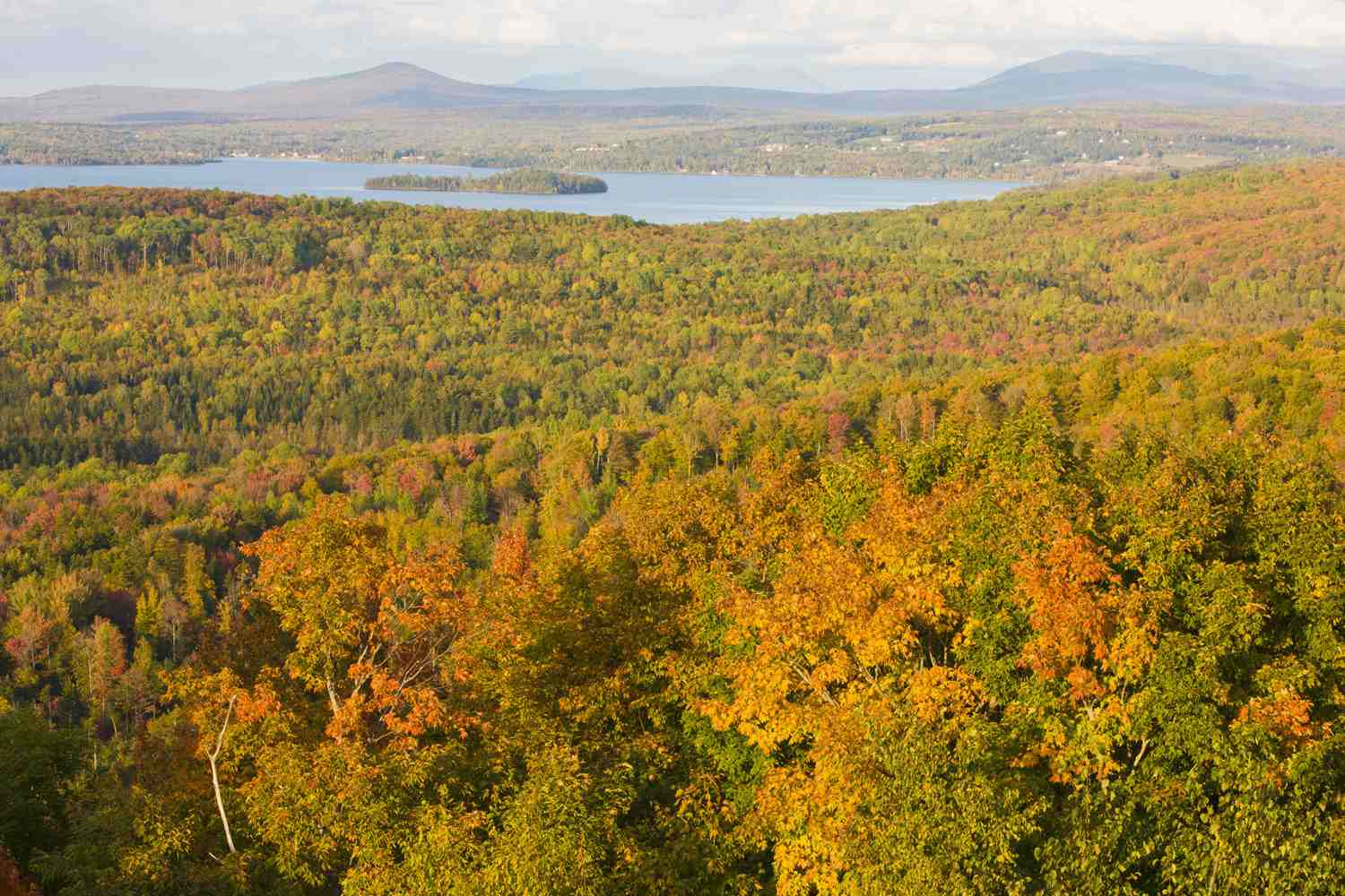 Rangeley Lake in Maine in the fall