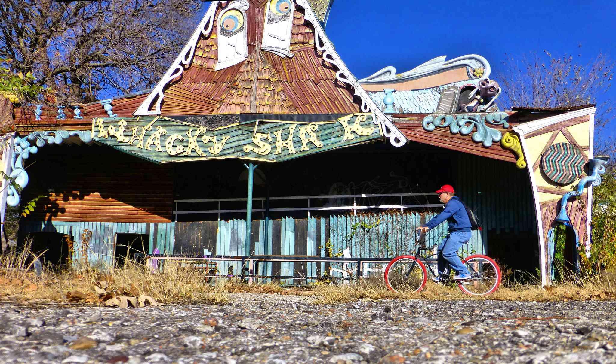 Whacky Shack ride at abandoned Joyland amusement par