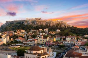 A view of Athens at sunset