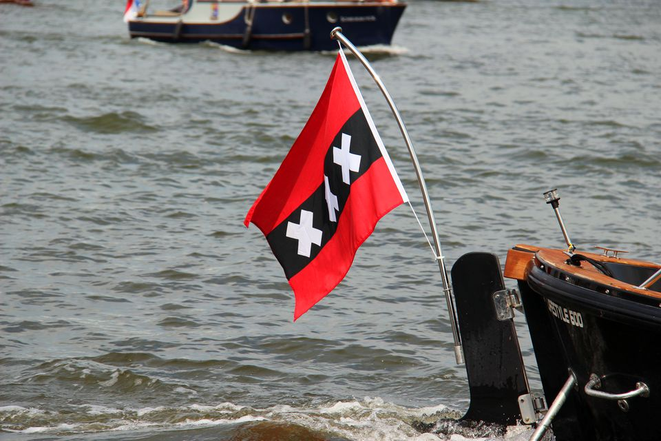Amsterdam: City Flag on a Boat