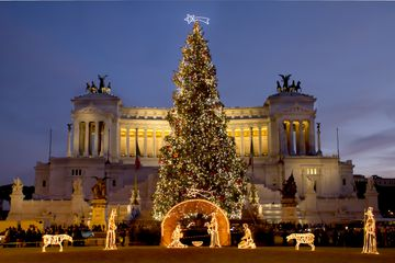 Chirstmas tree in Venice Square, Rome - Italy