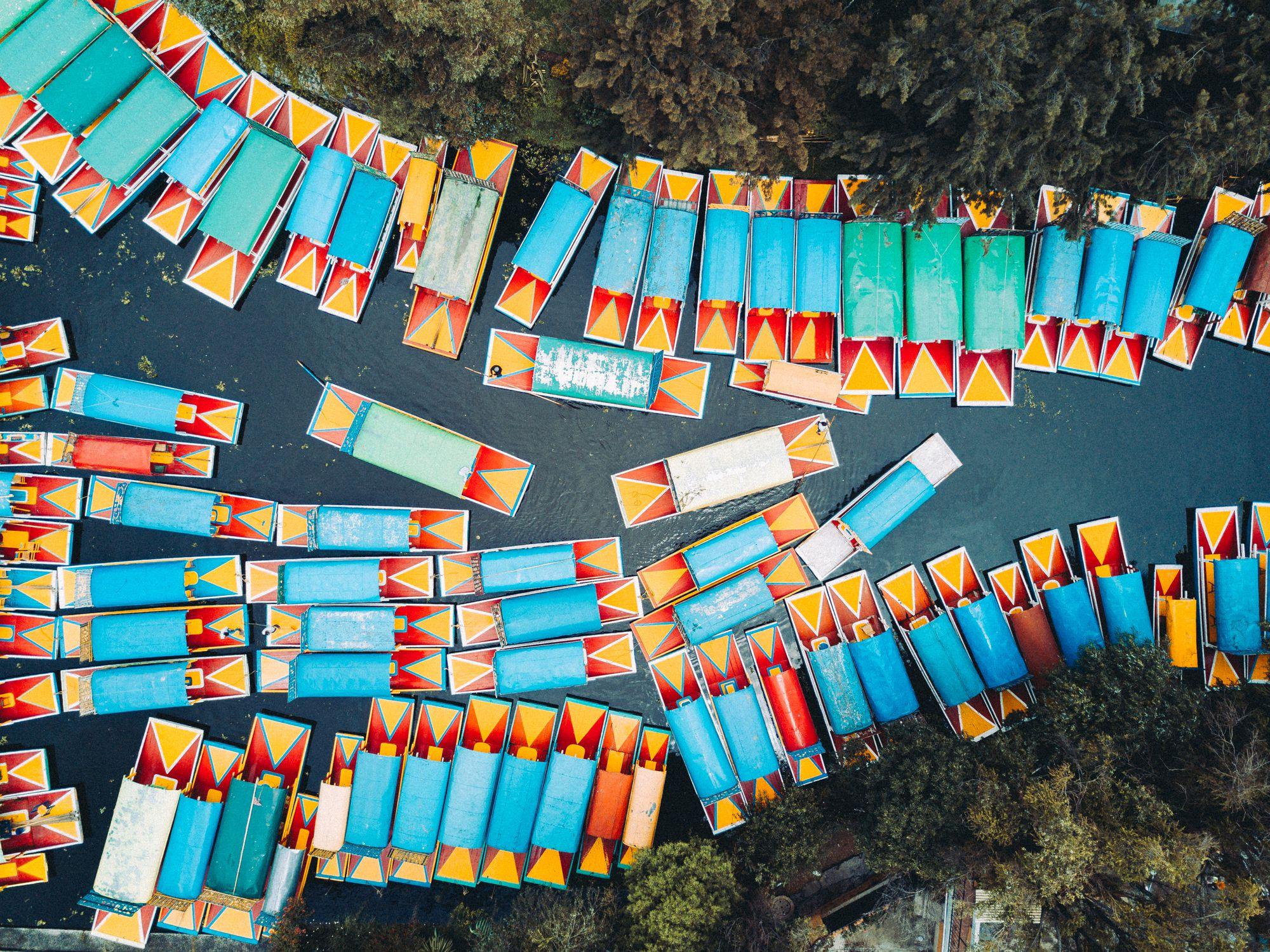 'Trajinera' boats in the Xochimilco's canals