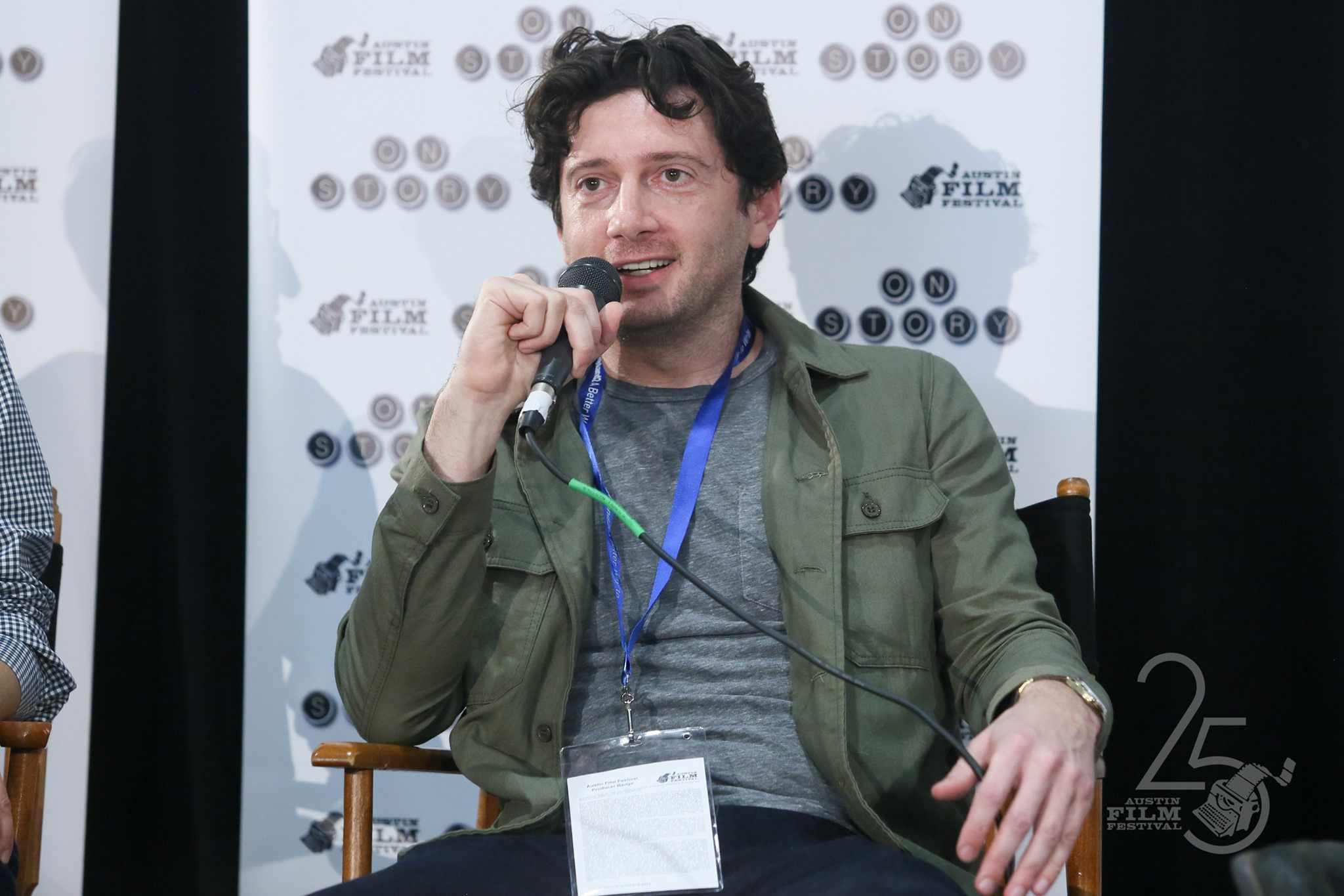 Gene Stupnitsky speaking on a panel at Austin Film Festival
