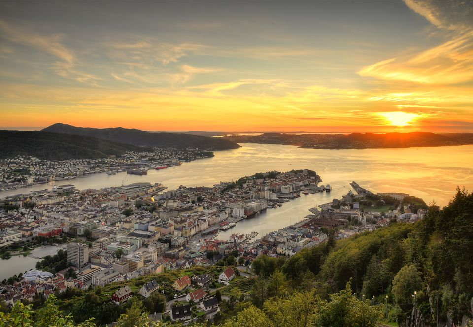 Sunset over Bergen city in Norway.