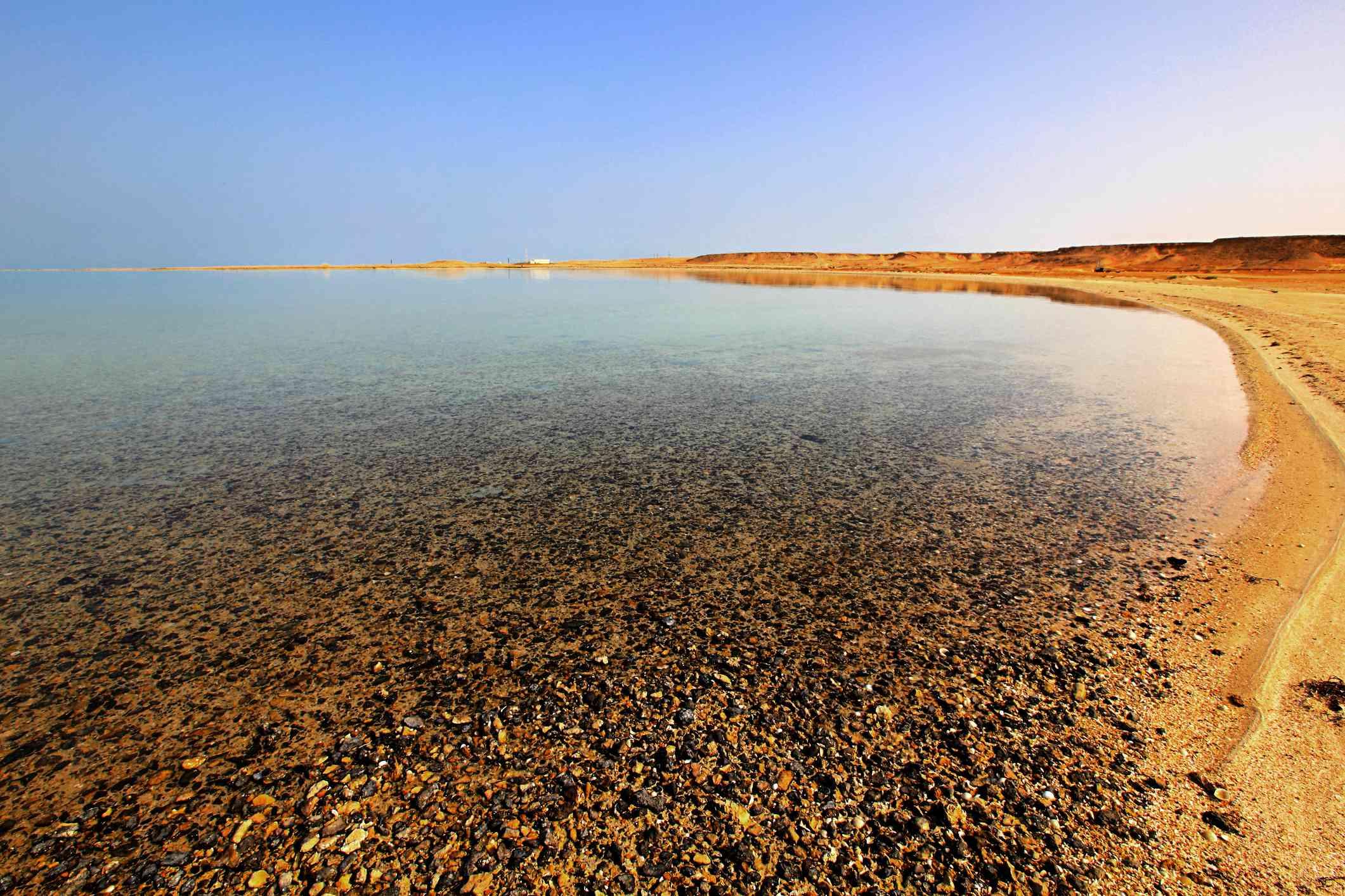 Rocky shore of Zekreet beach in Qatar