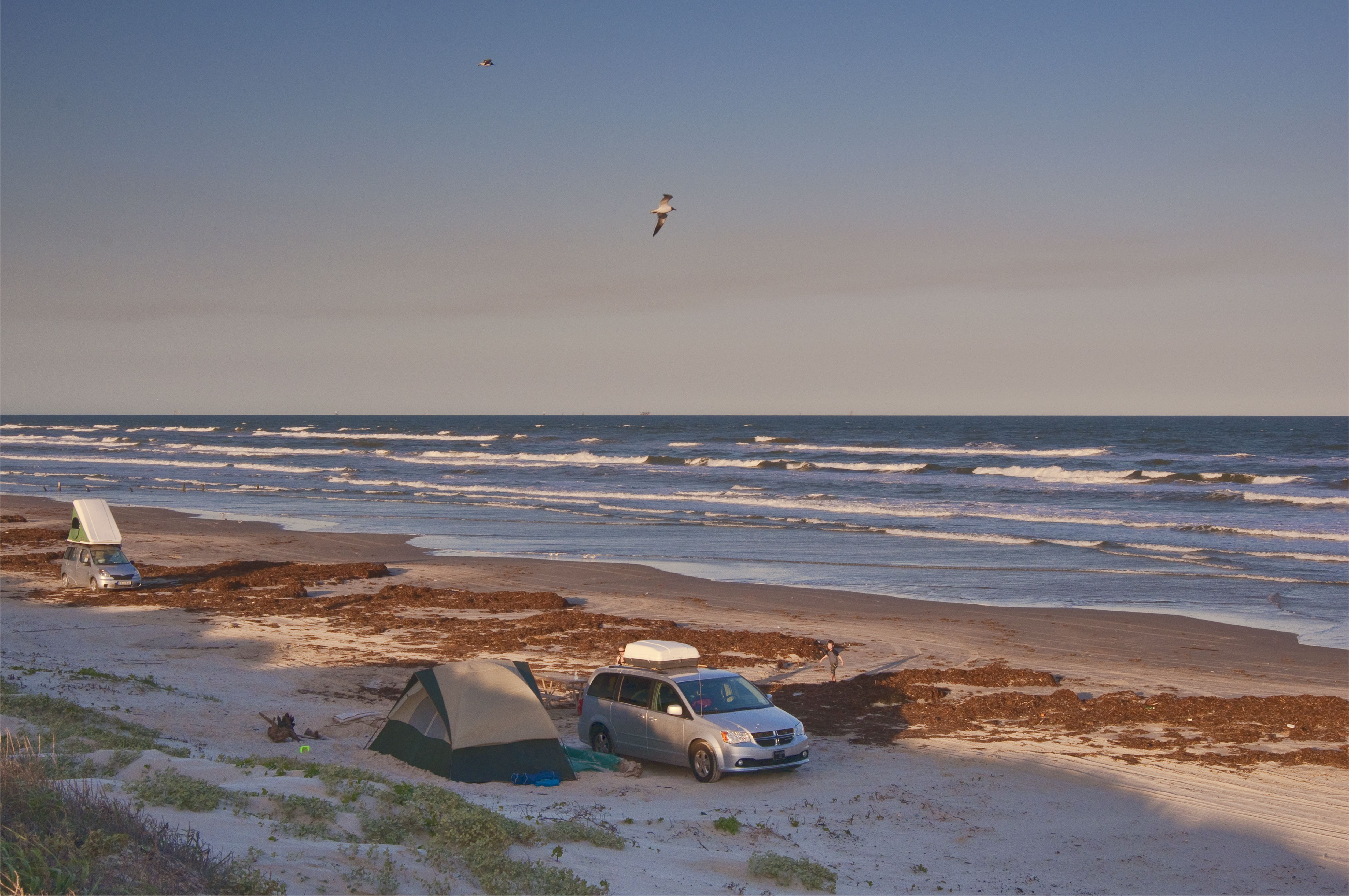 Beach camping in Mustang Island State Park, Texas