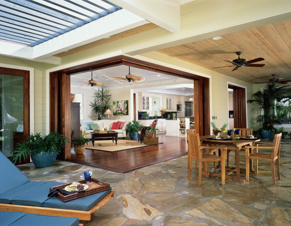 Patio and living room in house in Hawaii