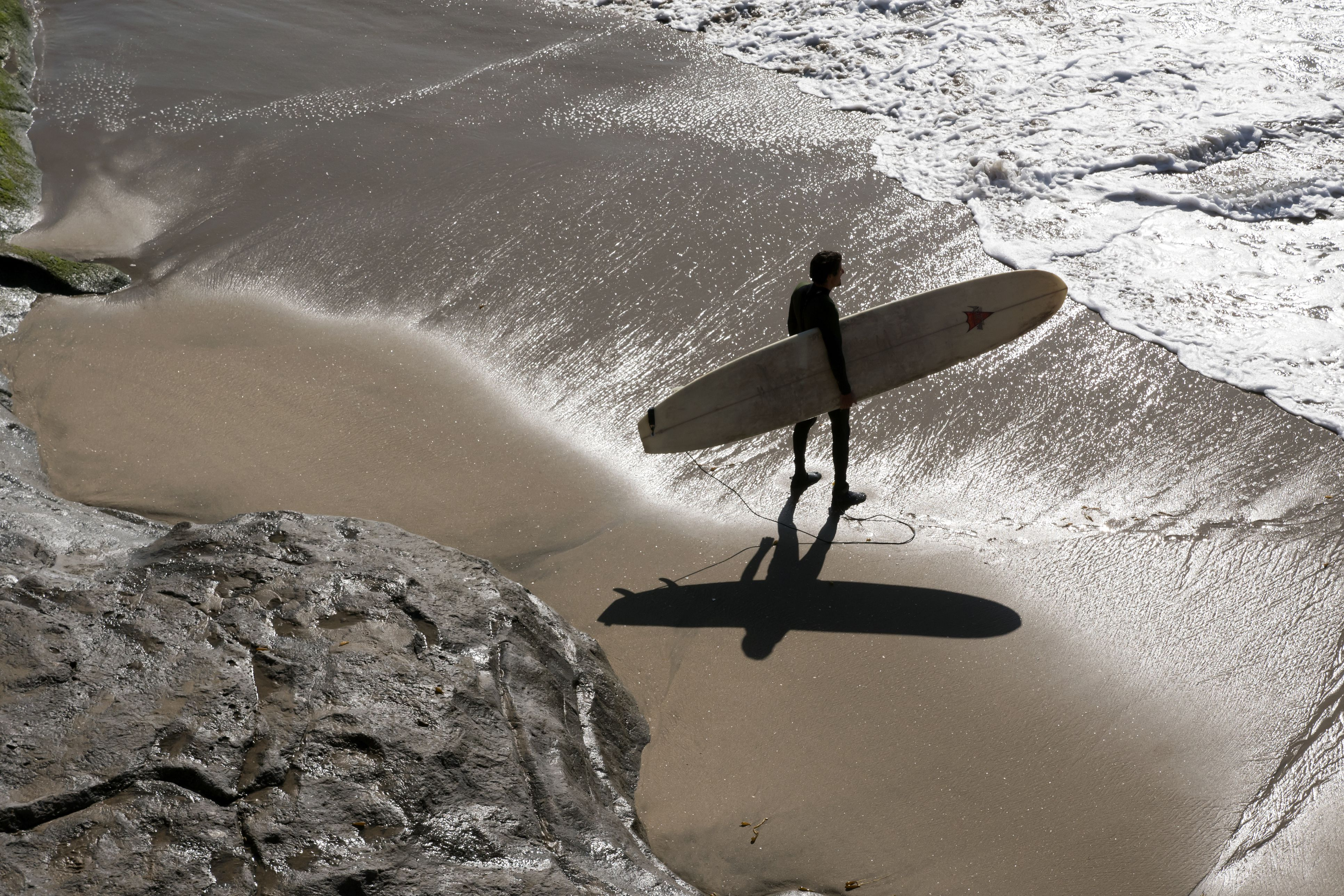 Surfer heading out to surf in Santa Cruz