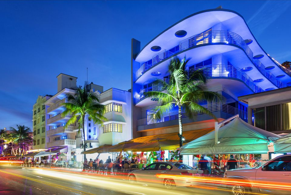 Neon lights on Ocean Drive