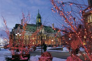 Montreal City Hall and Christmas decorations, Place Jacques-Cartier at dusk, Montreal, Quebec